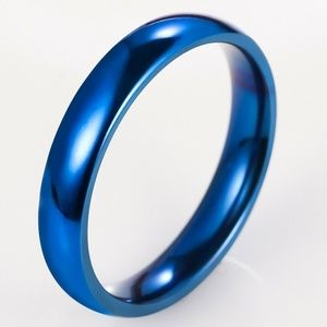 4mm Stainless Steel Thing Blue Band Ring Size 5